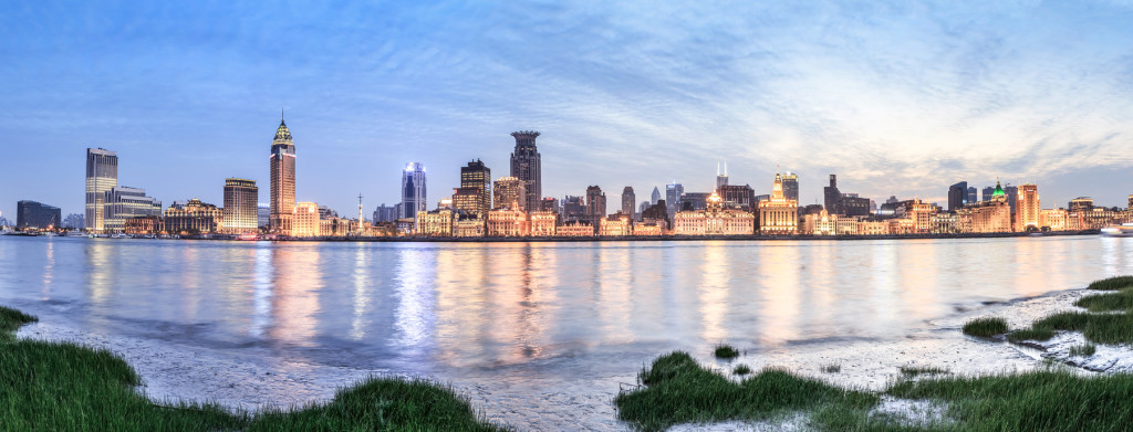 A waterfront view of the Bund District in Shanghai